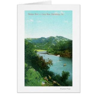 キャンプのロシアのな川の空中写真は上がりました カード