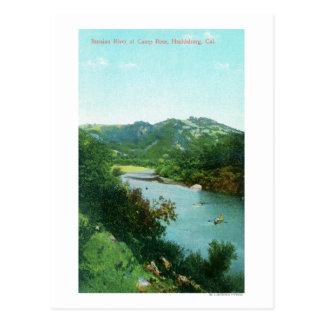 キャンプのロシアのな川の空中写真は上がりました ポストカード