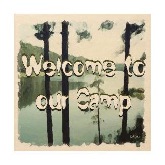 キャンプの喜ばしい徴候 ウッドウォールアート