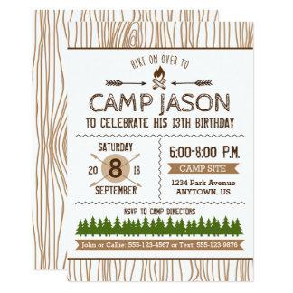 キャンプの誕生日の招待状 カード