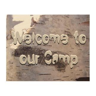 キャンプへの歓迎 ウッドウォールアート
