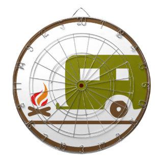 キャンプRVのトレーラーおよびキャンプファイヤー ダーツボード