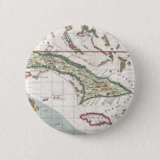 キューバおよびジャマイカ(1763年)のヴィンテージの地図 5.7CM 丸型バッジ