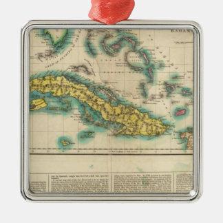 キューバおよびBahama島の地図 メタルオーナメント