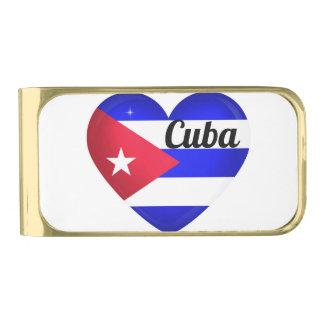 キューバのハートの旗 ゴールド マネークリップ