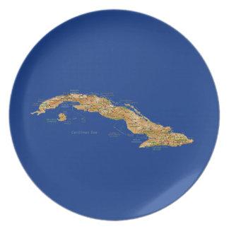 キューバの地図のプレート プレート