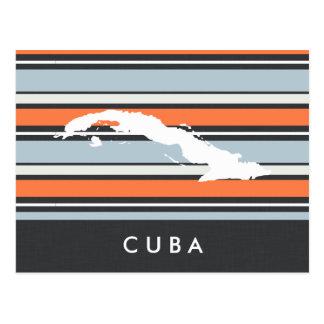 キューバの地図: モダンは縞で飾ります ポストカード