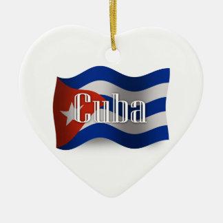 キューバの振る旗 セラミックオーナメント
