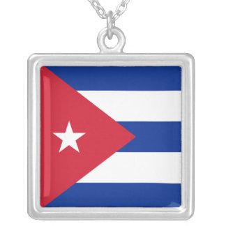 キューバの旗のネックレス シルバープレートネックレス