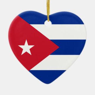 キューバの旗のハートのオーナメント セラミックオーナメント