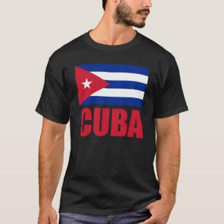 キューバの旗の赤い文字の暗闇 Tシャツ
