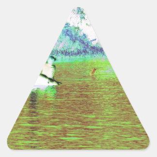 キューバの田園魚釣り 三角形シール