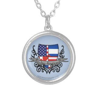 キューバ人アメリカの盾の旗 シルバープレートネックレス