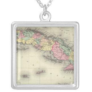 キューバ、ジャマイカおよびプエルトリコ シルバープレートネックレス