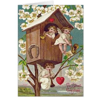 キューピッドによっては巣箱のハートの蹄鉄が開花します カード