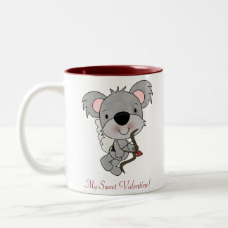 キューピッドのコアラのバレンタインのマグ ツートーンマグカップ