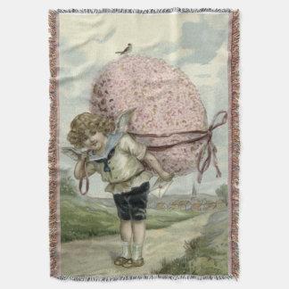 キューピッドの天使のイースターエッグの花柄の花の鳥 スローブランケット