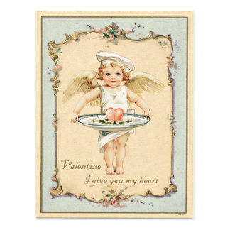キューピッドの天使のハートのヴィンテージの再生 ポストカード