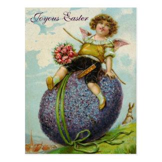 キューピッドの天使のバラのイースターエッグの郵便はがきのヴィンテージ ポストカード