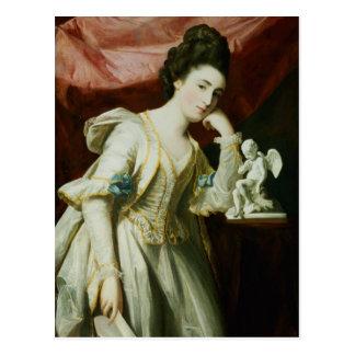 キューピッドの小像を持つ女性のポートレート ポストカード