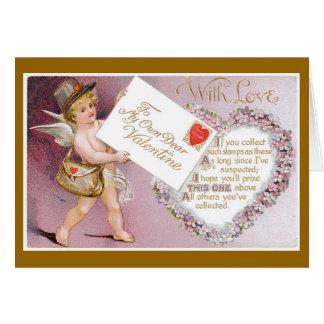 キューピッドの郵便料金のビクトリアンなバレンタインデーカード カード