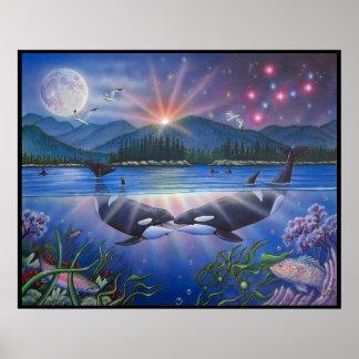 キラーキスのクジラの絵画 ポスター