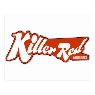 キラー赤いレトロのロゴのデザイン ポストカード