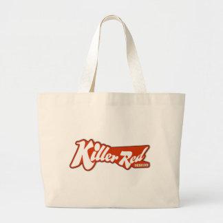 キラー赤いレトロのロゴのデザイン ラージトートバッグ