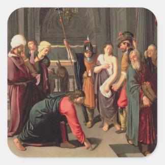 キリストおよび姦通で取られる女性 スクエアシール