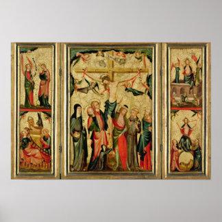 キリストのはりつけを描写するトリプティク ポスター