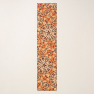 キリストの中世(占星術の)十二宮図のカレンダーのサテン スカーフ