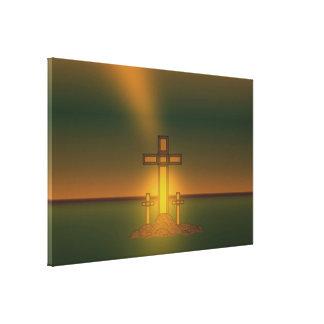 キリストの十字上の神のオーラライト キャンバスプリント