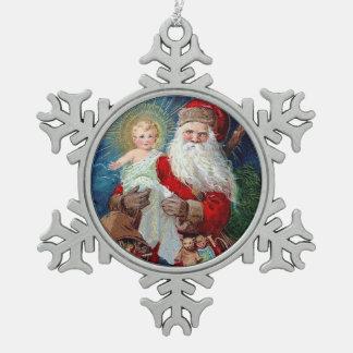 キリストの子供を持つサンタクロース スノーフレークピューターオーナメント