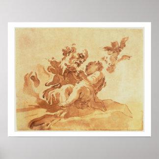 キリストの子供(ペン、インク、bを崇拝しているセントジョーゼフ ポスター