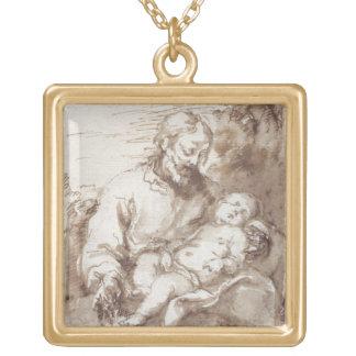 キリストの睡眠の子供を持つセントジョーゼフ(ペン及びb ゴールドプレートネックレス