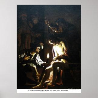キリストはゲリットヴァンHonthorstによってとげによって戴冠しました ポスター