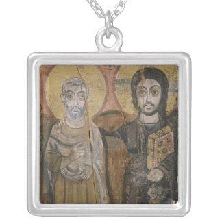 キリストを持つAbbott Menaを描写するアイコン シルバープレートネックレス