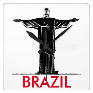 キリスト救い主の彫像のブラジルのミニマリストの時計 スクエア壁時計