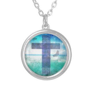 キリスト教の十字の現代美術 シルバープレートネックレス
