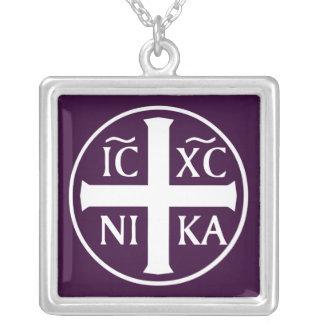 キリスト教の宗教アイコンChristogram ICXC NIKA シルバープレートネックレス