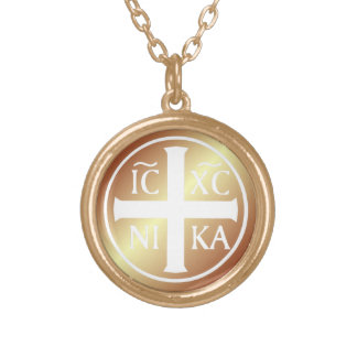 キリスト教の宗教アイコンICXC NIKA Christogram ゴールドプレートネックレス
