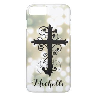 キリスト教の渦巻く十字の名前入り iPhone 8 PLUS/7 PLUSケース