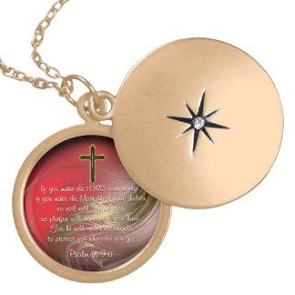 キリスト教の聖なる書物、経典の保護ロケット ゴールドプレートネックレス