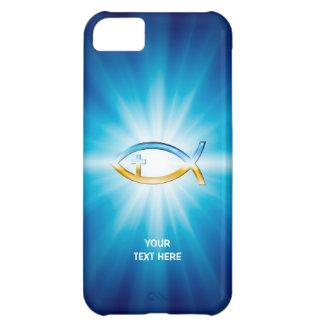キリスト教の魚の十字の青い背景 のユニークなギフト iPhone5Cケース