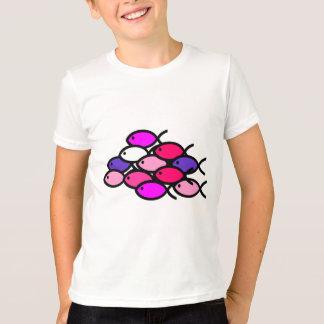 キリスト教の魚の記号の学校-ピンク Tシャツ