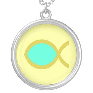 キリスト教の魚の記号 シルバープレートネックレス