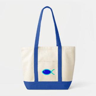 キリスト教の魚の記号-大声で! 青および水 トートバッグ