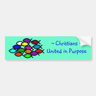 キリスト教の魚の記号-虹の学校- バンパーステッカー