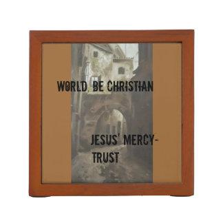 キリスト教メッセージが付いている机のorganiszer ペンスタンド