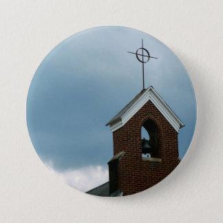 キリスト教会の尖塔の十字の写真ボタン 7.6CM 丸型バッジ